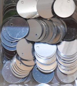 Pailletten gat zijkant Zilver 12mm