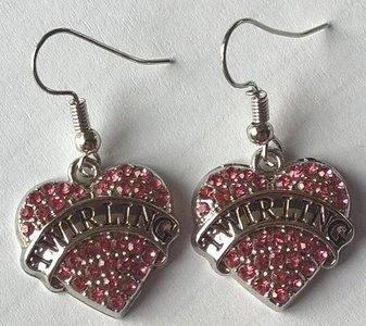 Earrings Twirling heart pink