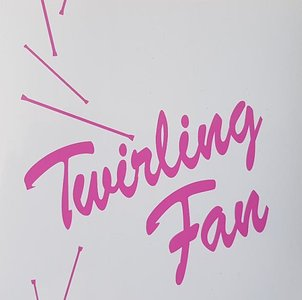 Sticker wit/rose Twirling fan