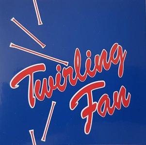 Sticker blauw/rood twirling fan